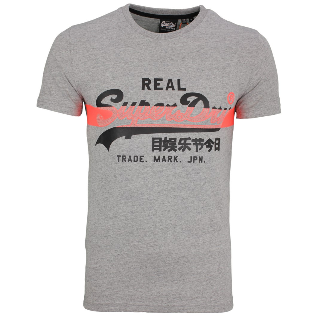 Superdry Herren T-Shirt Vintage Logo Cross Hatch grau M1010090A 9SS d.grey