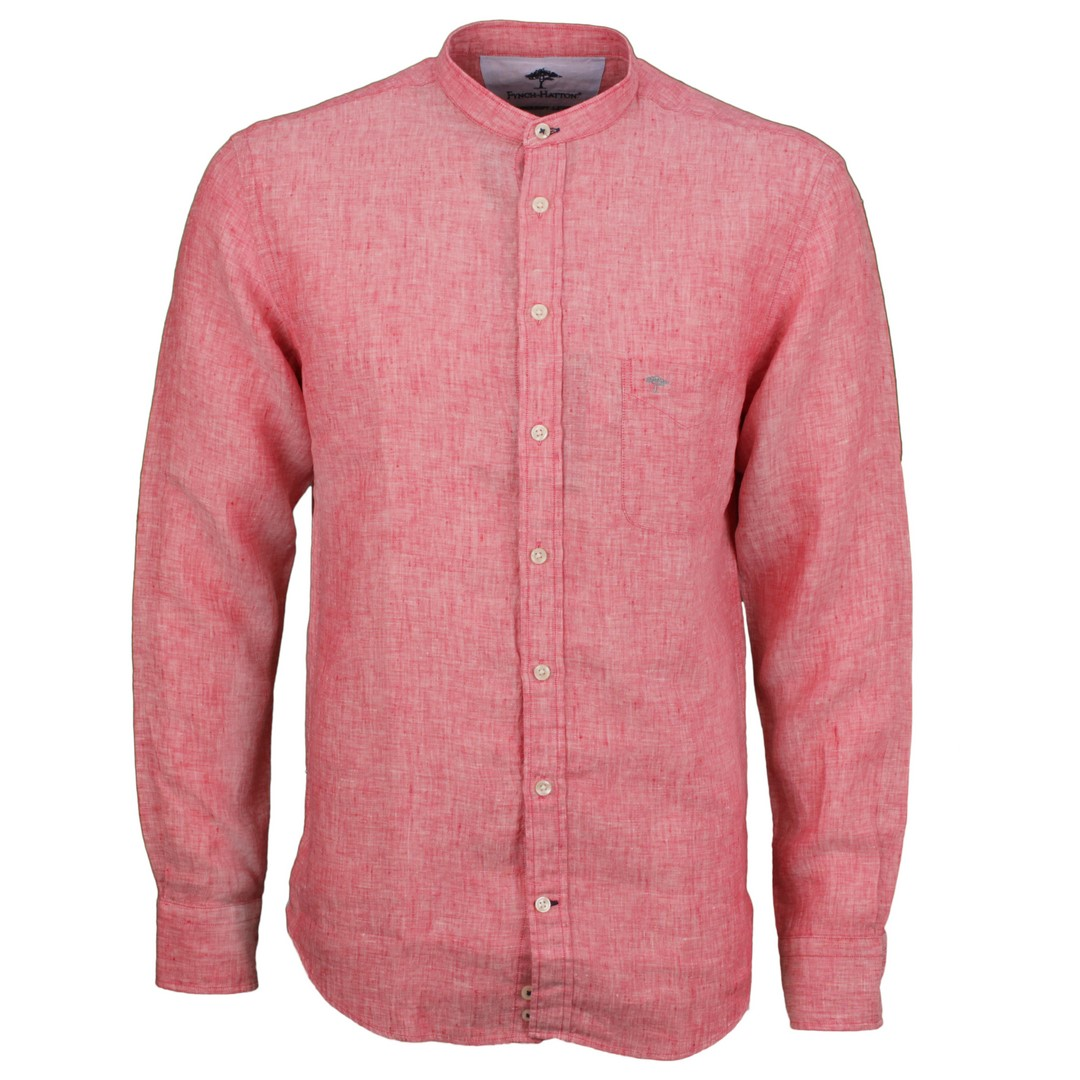 Fynch Hatton Herren Freizeit Leinen Hemd rot unifarben 11216038 6032 chili