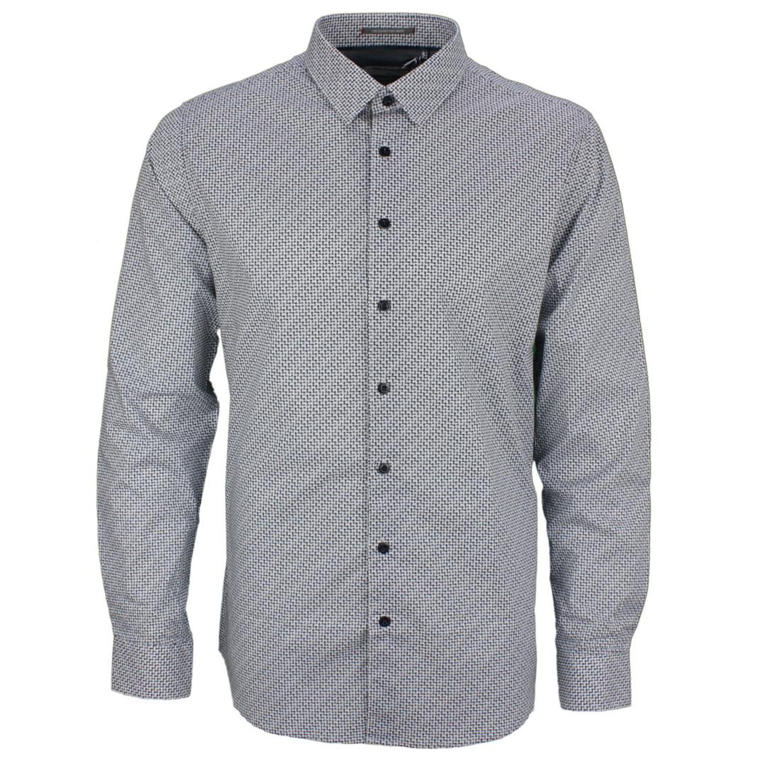 No Excess Herren Freizeit Hemd blau Minimal Muster 97430807S 078 night