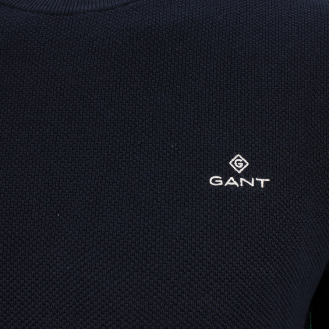Gant Strick Pullover Strickpullover Cotton Pique dunkel blau 8030521 433 evening blue