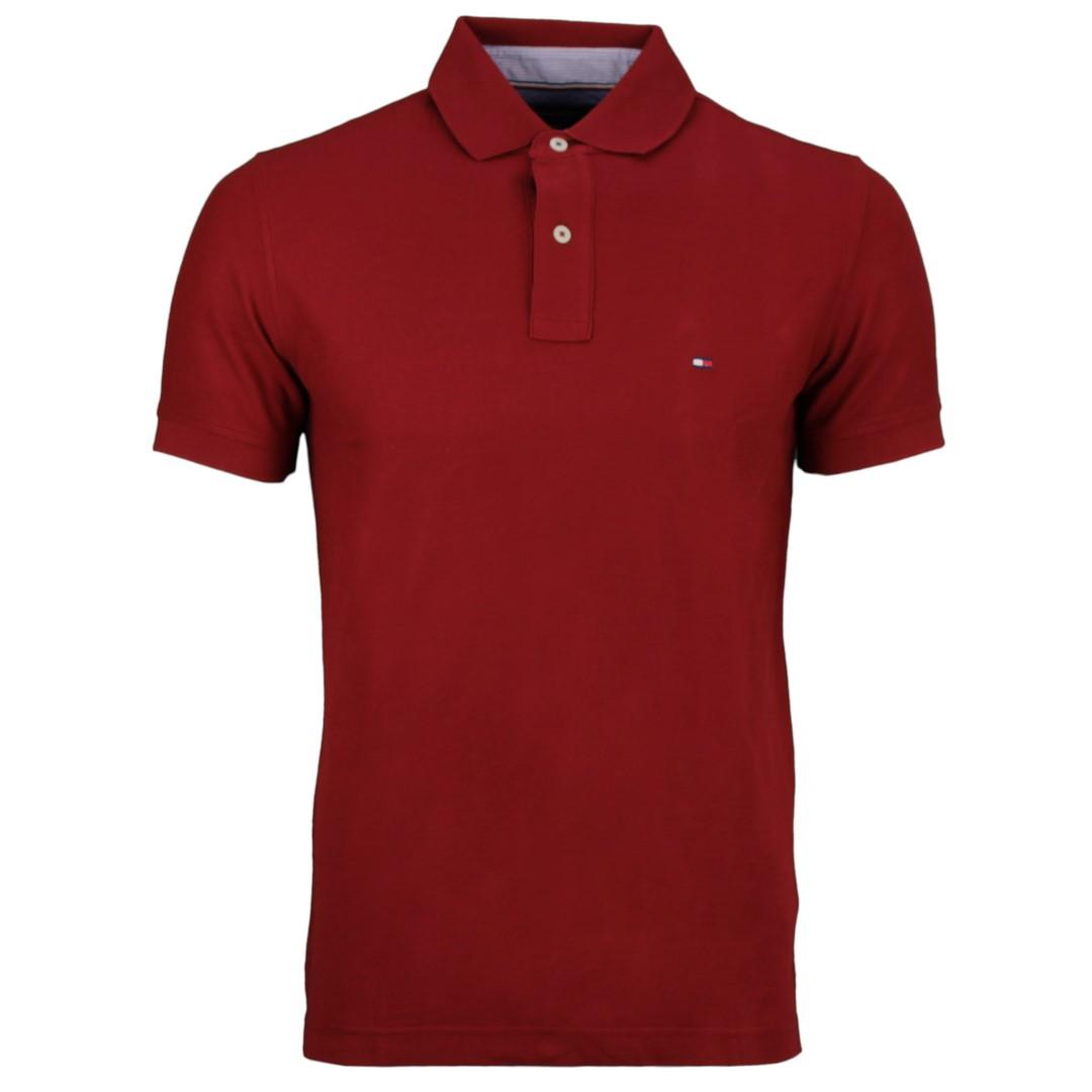 Tommy Hilfiger Herren Polo Shirt dunkel rot unifarben MW0MW10766 XIT
