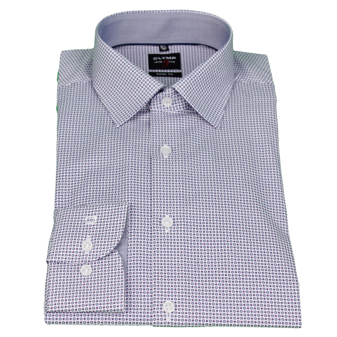 Olymp Herren Body Fit Hemd Level 5 blau rot weiß Minimal Muster 2084 34 30