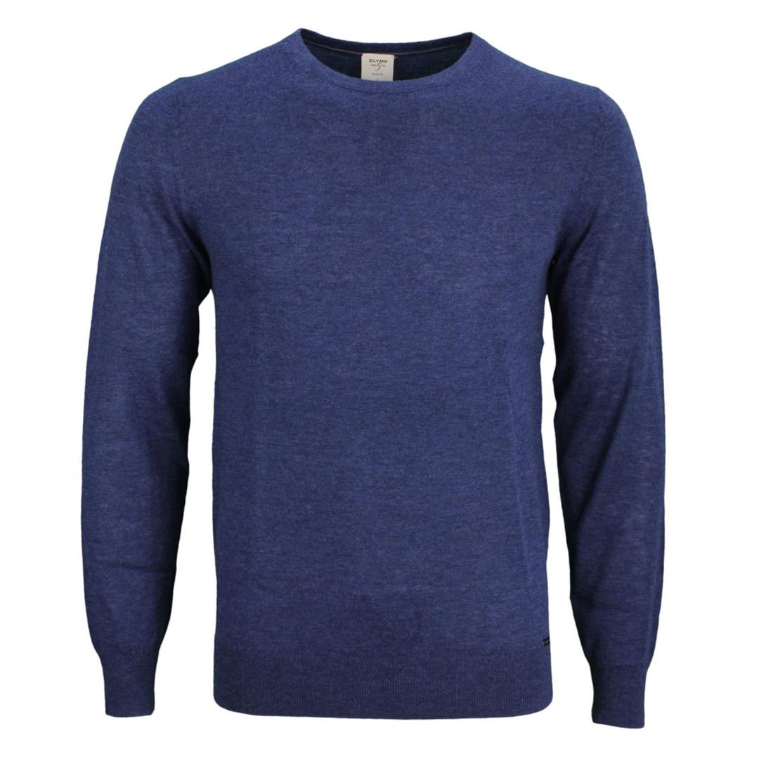 Olymp Level Five 5 Body Fit Strick Pullover blau unifarben 0151 11 19