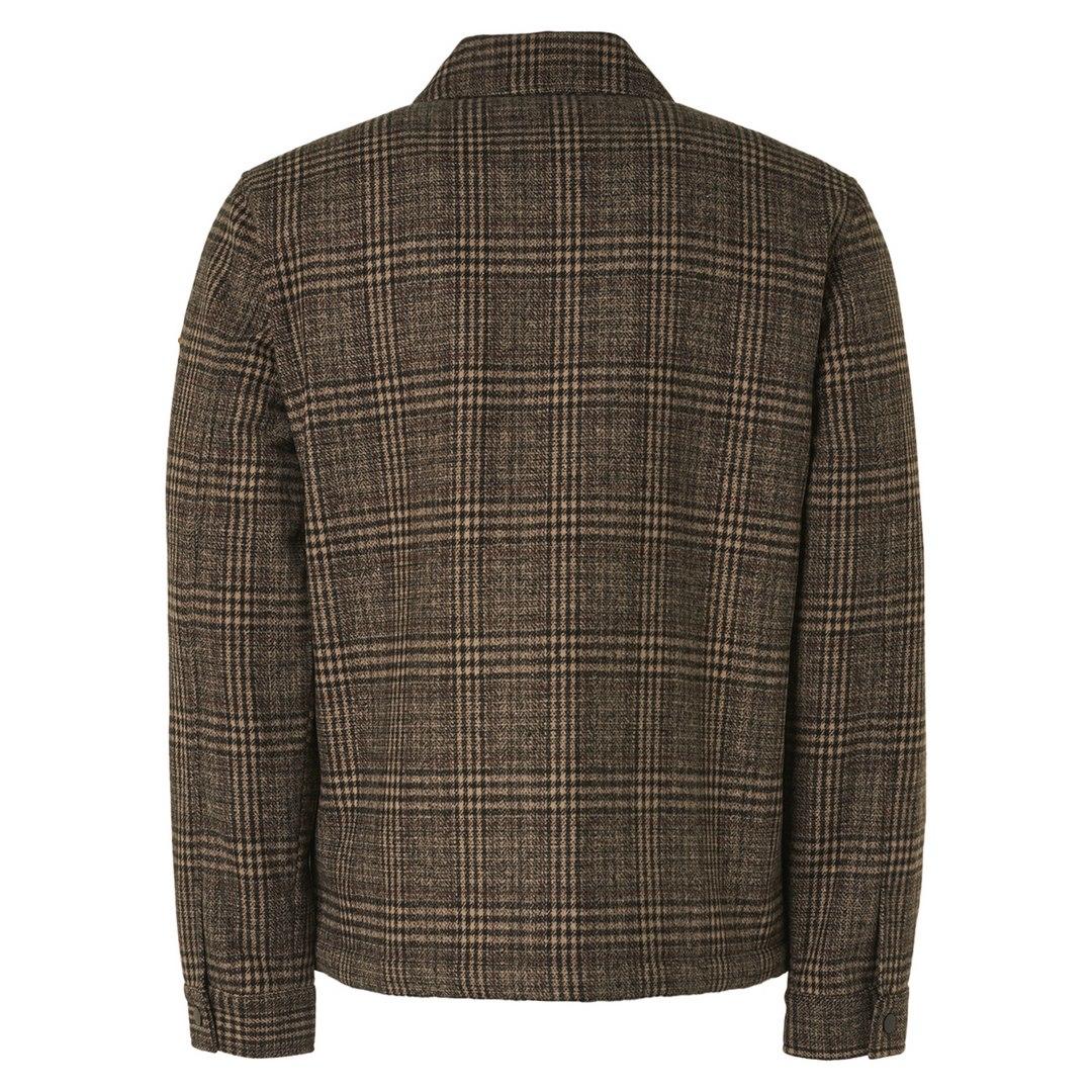 No Excess Herren Overshirt Jacket Short Fit Check With Wool braun kariert 12630913 043
