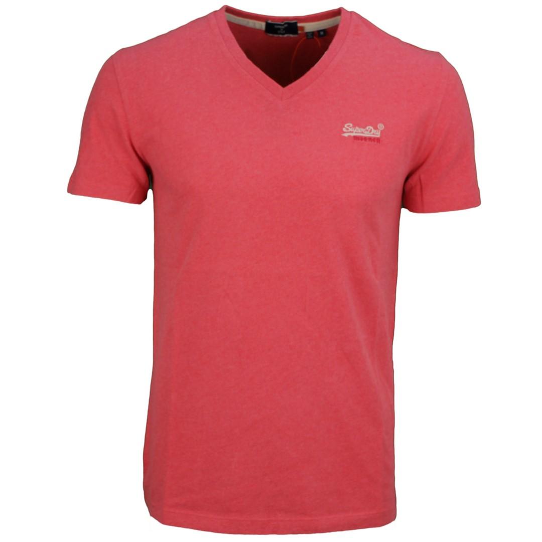 Superdry Herren T-Shirt Shirt kurzarm Ol Classic Vee Tee rot meliert M1010861A OZJ coral