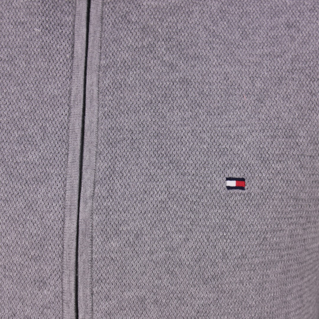 Tommy Hilfiger Herren Strick Jacke Strickjacke Fullzip grau Strukturiert MW0MW13658 P93