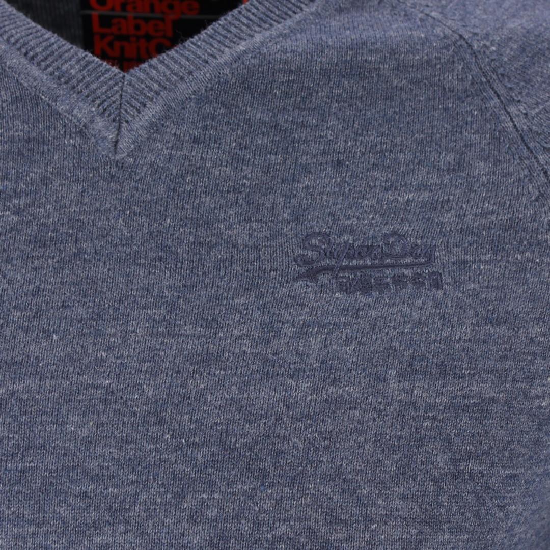 Superdry Strick Pullover Orange Label blau unifarben M6100026A R6J blue
