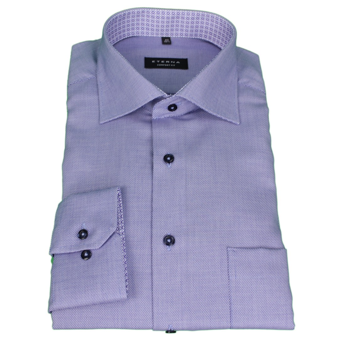 Eterna Business Hemd Comfort Fit Langarm blau unifarben 3270 E15K 15 blau
