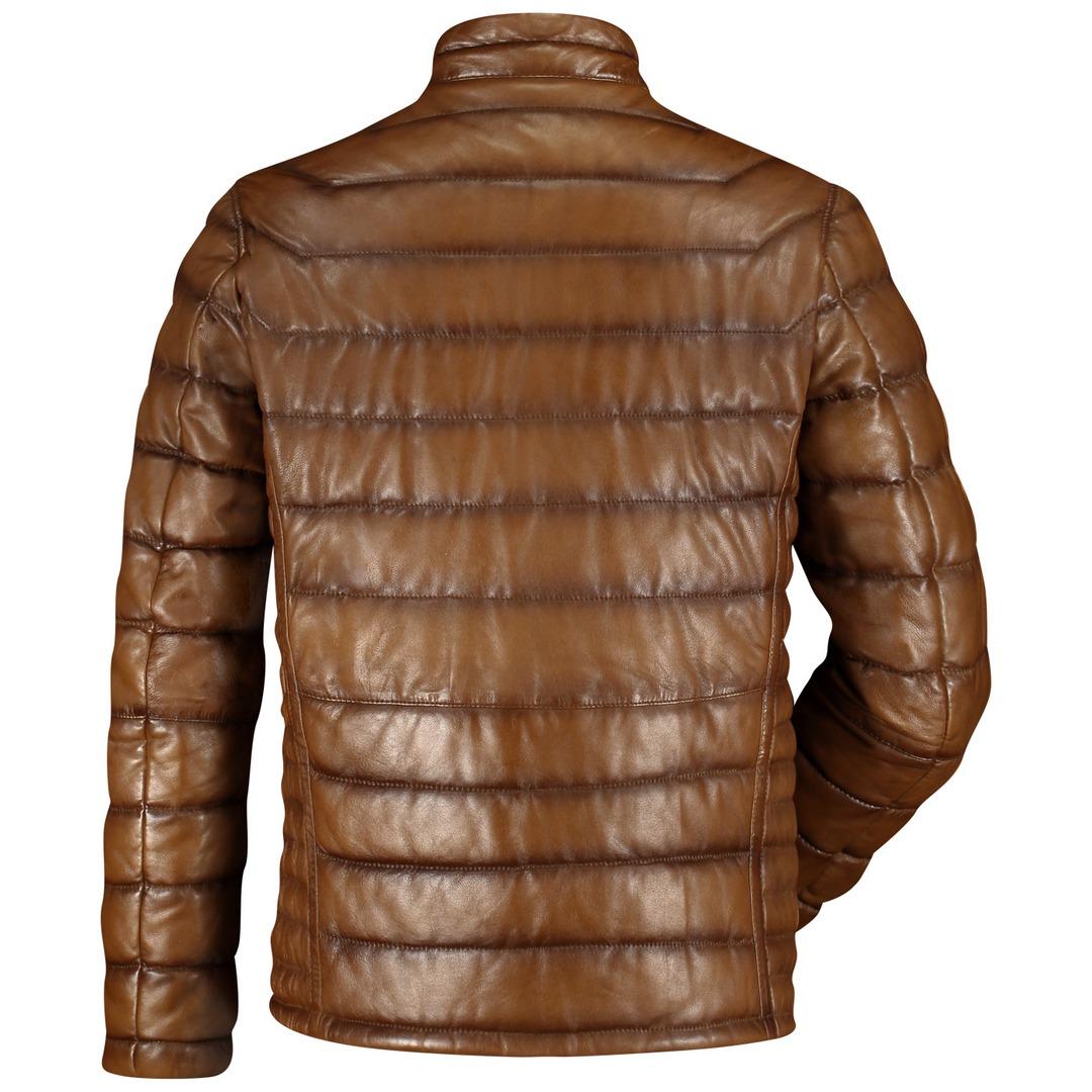 Milestone Herren Lederjacke Jacke braun gesteppt Pacino 13100060020 25 dunkel Cognac