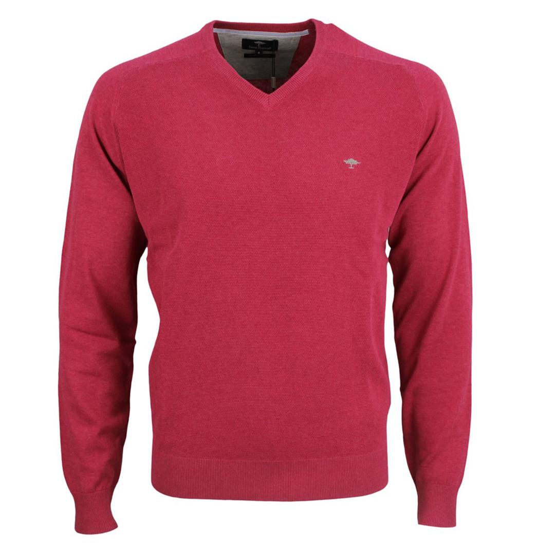 Fynch Hatton Herren Strick Pullover Strickpullover rot strukturiert 1121256 436 mauve