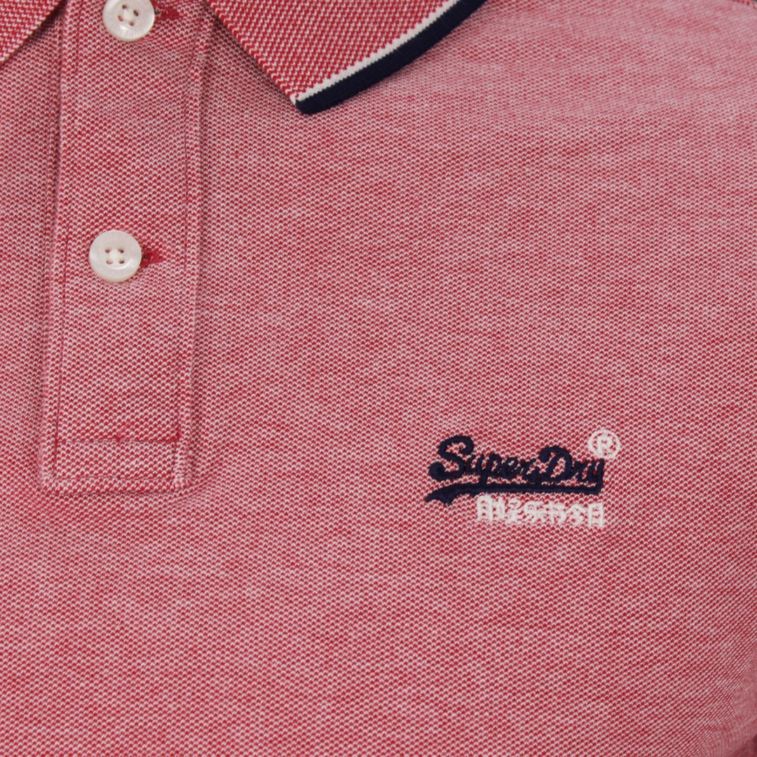Superdry Herren Polo Shirt Pool Side Piqué rot M1110013A 01R coral