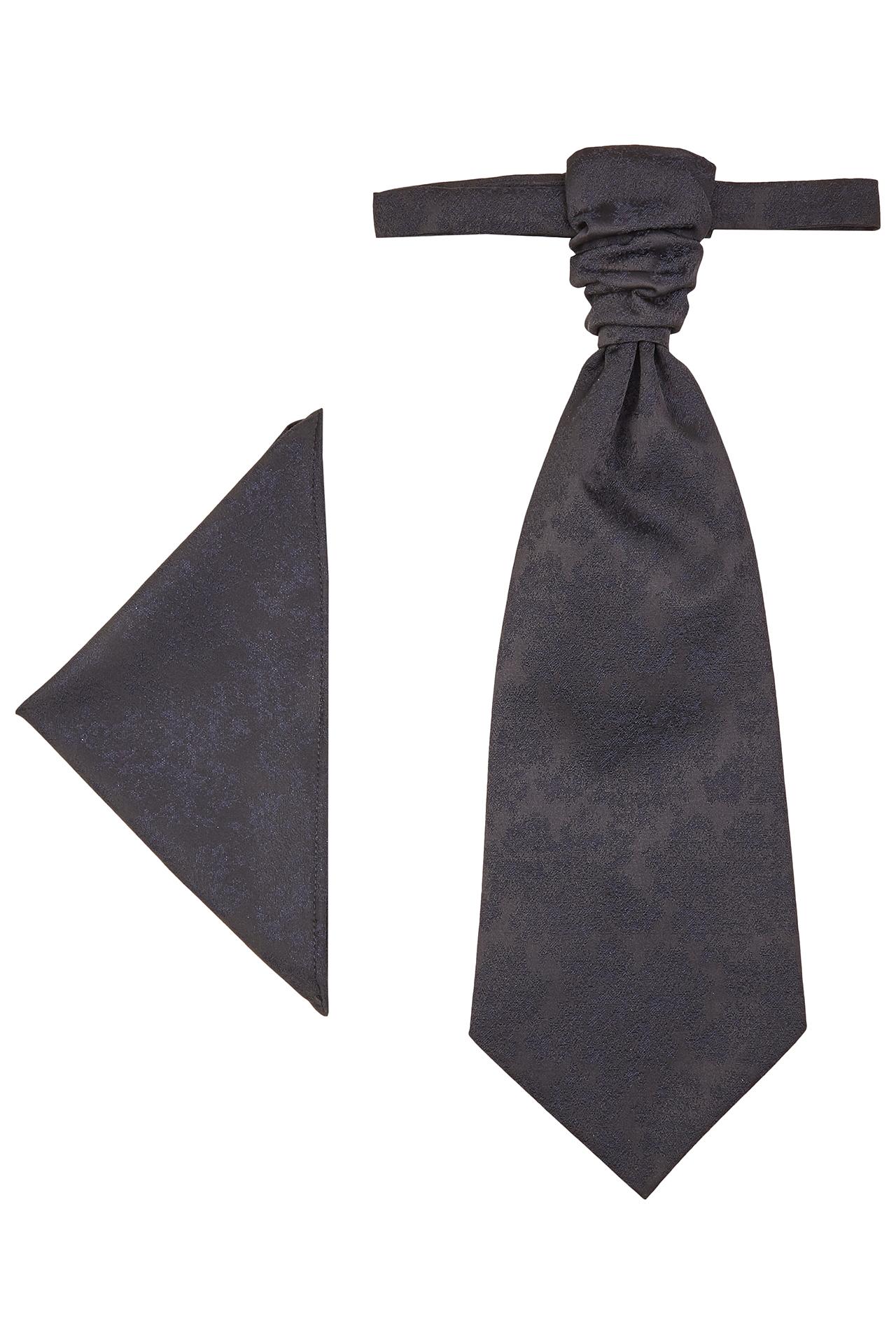 Wilvorst Herren Plastron Einstecktuch Set schwarz Paisleymuster 491103 0622 30