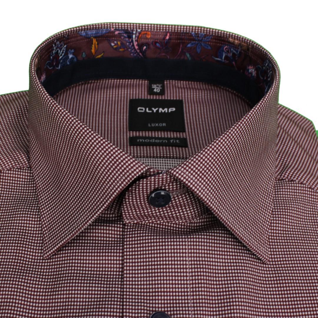 Olymp Herren Luxor Modern Fit Hemd rot klein kariert 124264 39