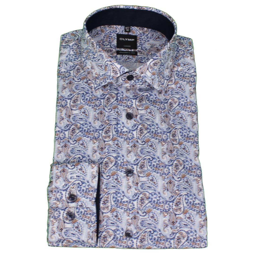 Olymp Herren Luxor Modern Fit Hemd mehrfarbig Paisley Muster 132664 27