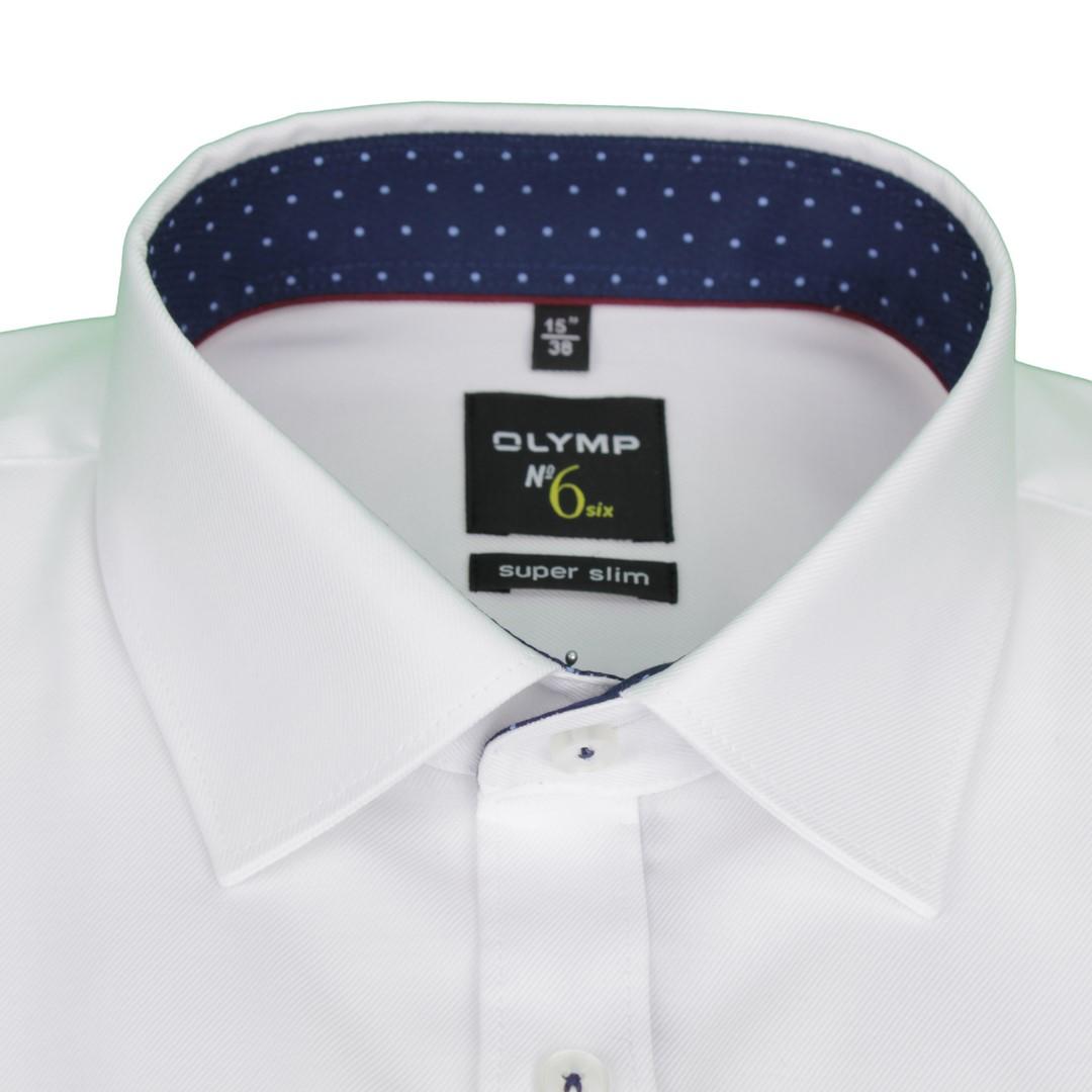 Olymp Herren Super Slim Hemd No. 6 weiß Unifarben 4887 16 00