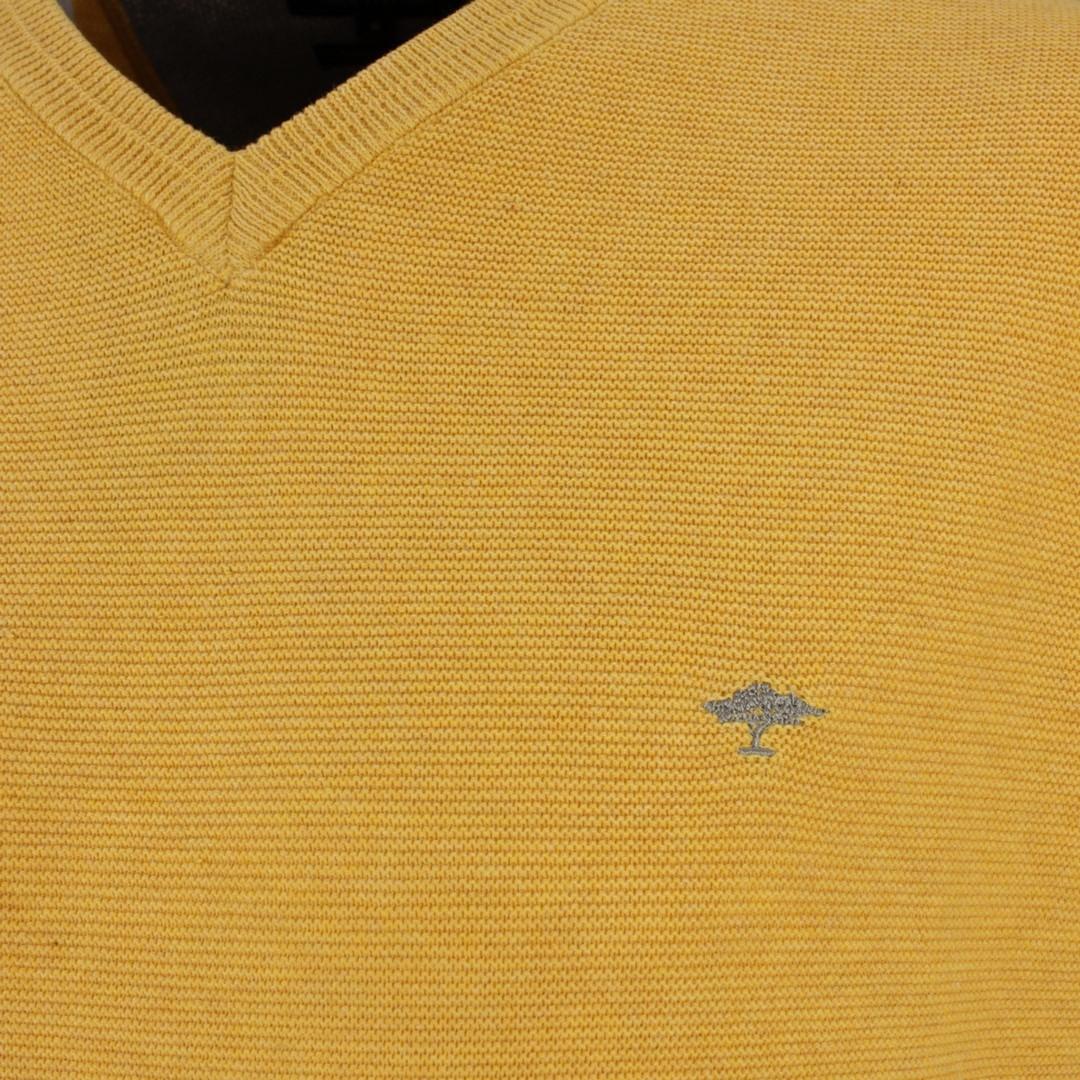 Fynch Hatton Herren Strick Pullover gelb strukturiert 1121221 114 sunlight