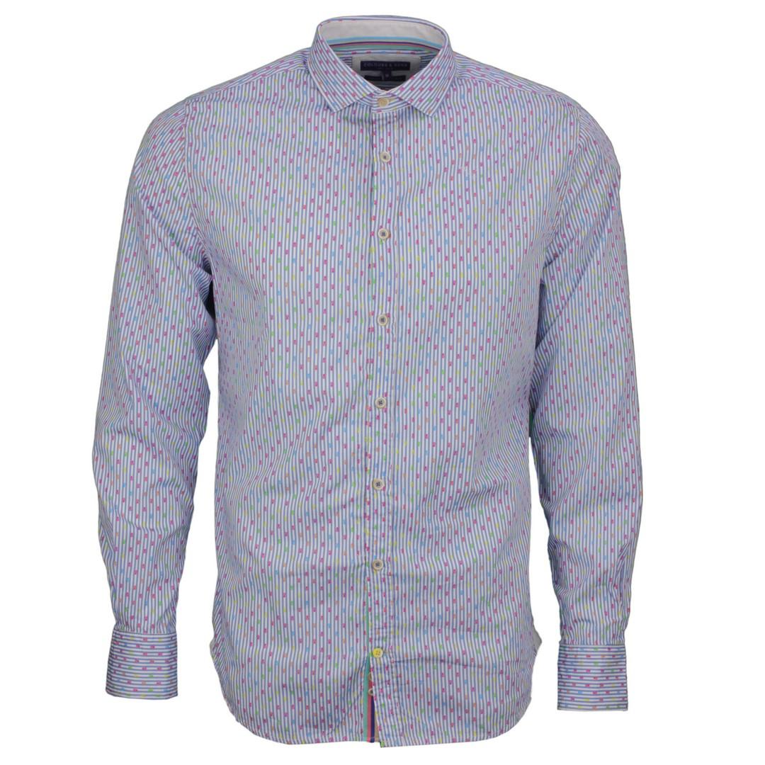 Colours & Sons Herren Freizeit Hemd blau gemustert 9121 300 306 Neon Pineappels