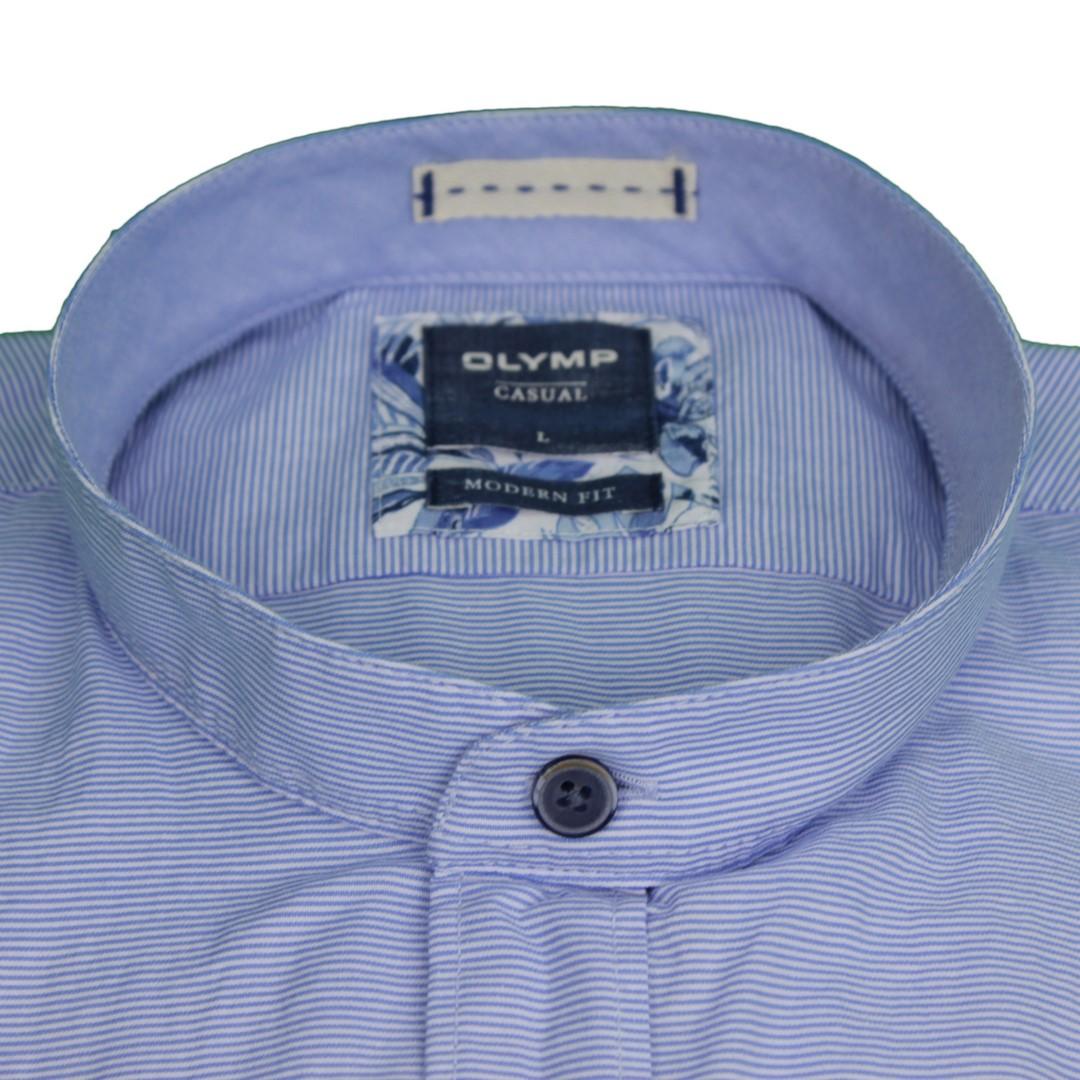Olymp Herren Casual Freizeit Hemd Halb Arm blau weiß gestreift 4056 52 11