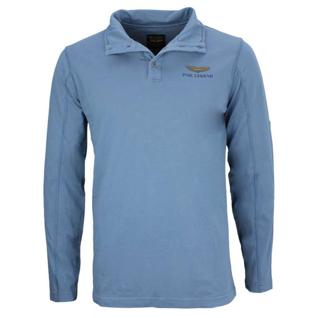PME Legend Herren Rugby Shirt blau unifarben PPS205805 5239
