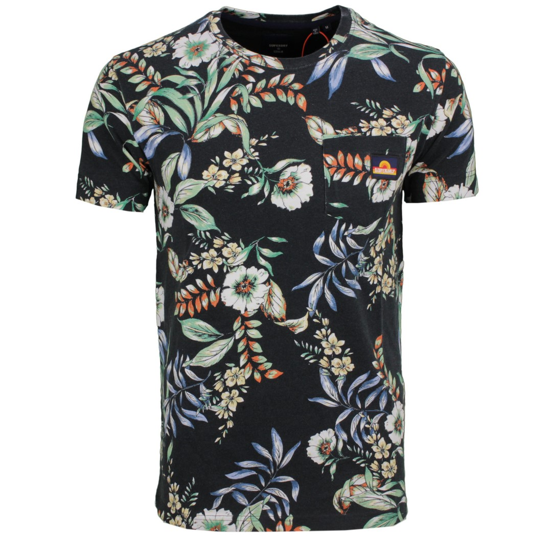 Superdry Herren T-Shirt Pocket Tee Hawaii Blumen Muster M1011032A 4HA Hawaiian
