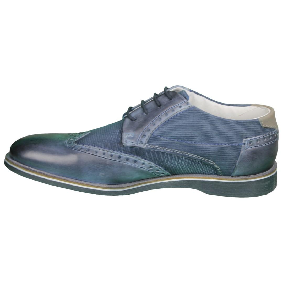 Bugatti Herren Schuhe Schnürschuhe blau Strukturiert 311 64703 4100 4000 blue