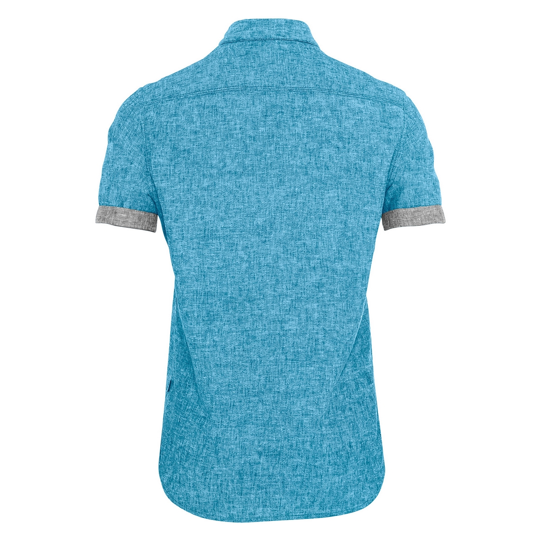 Camel active kurzarm Hemd blau unifarben 5S49409238 48