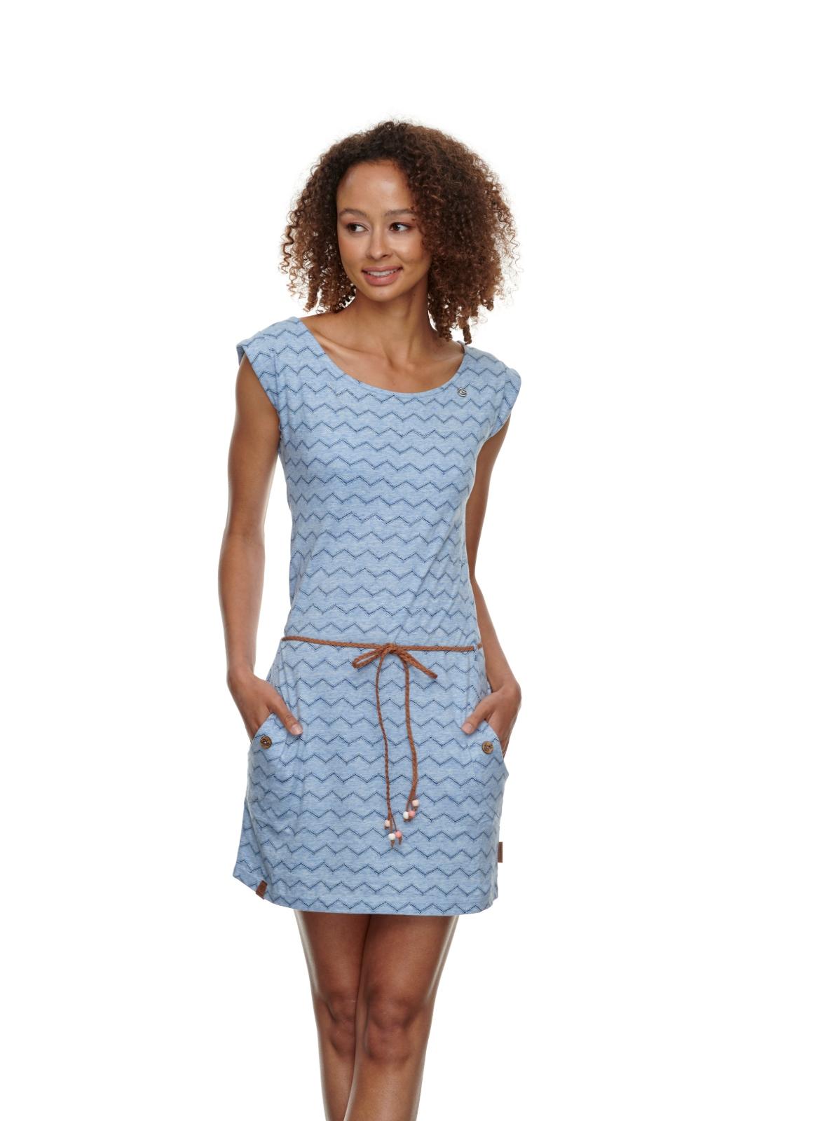 Ragwear Damen Kleid Tag Chevron blau weiß gemustert 2111 20016 2040 blue