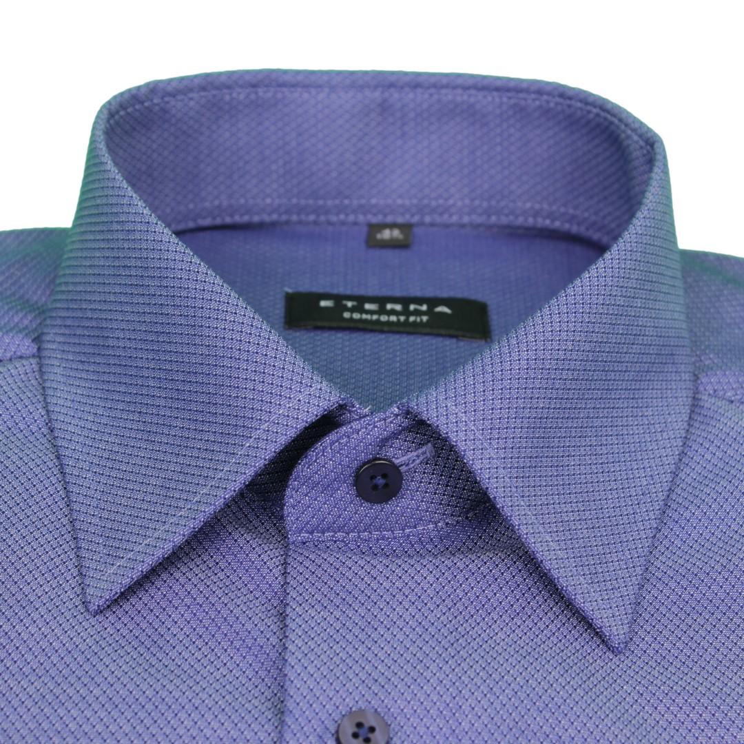 Eterna Halb Arm 1/2 Kurzarm Hemd Comfort Fit blau strukturiert 3237 K18E 18