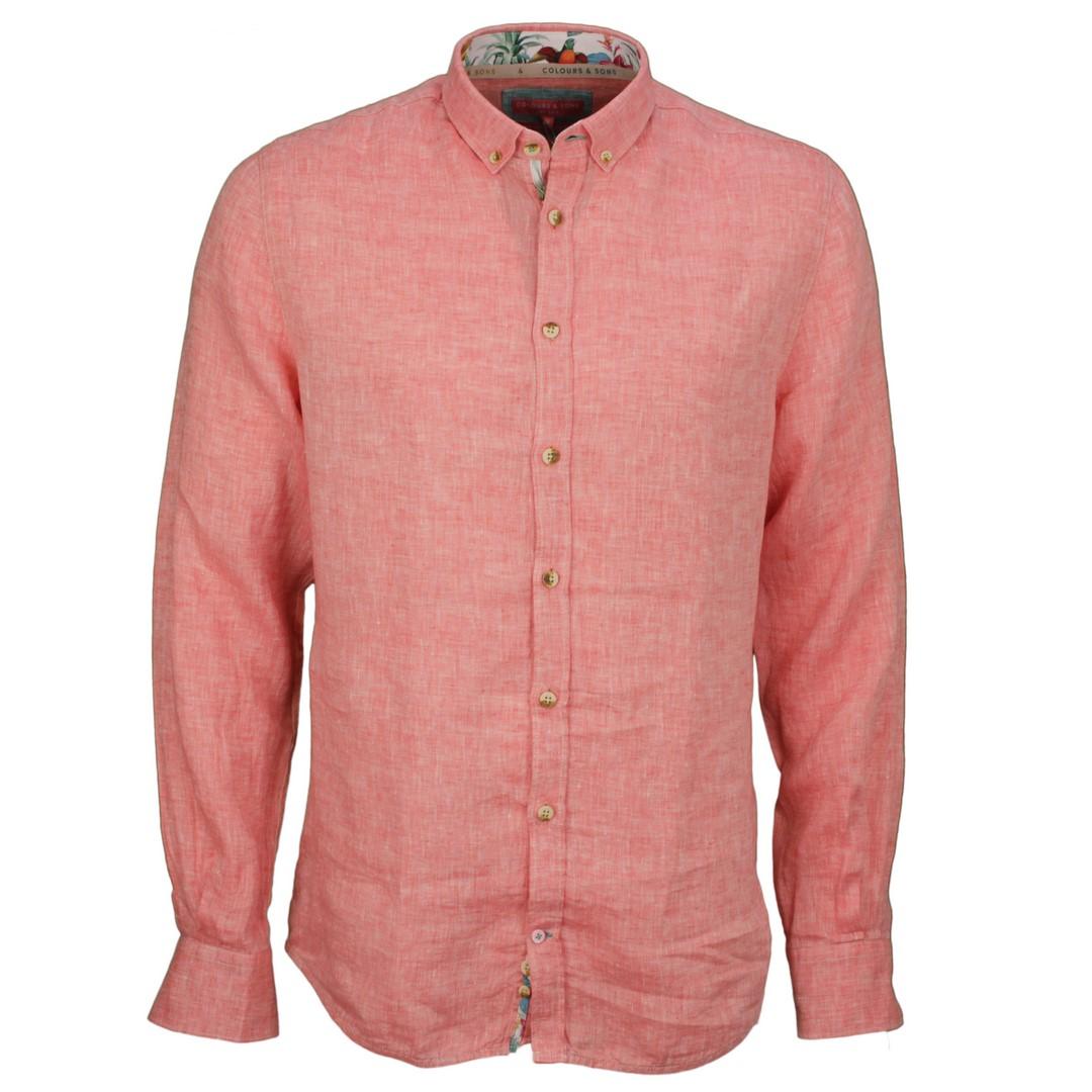 Colours & Sons Herren Freizeit Leinen Hemd rot unifarben 9121 210 213 Salmon