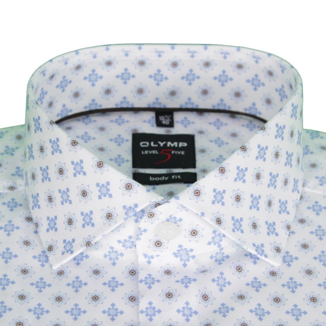 Olymp Herren Body Fit Hemd Level 5 blau weiß Minimal Muster 2039 34 27