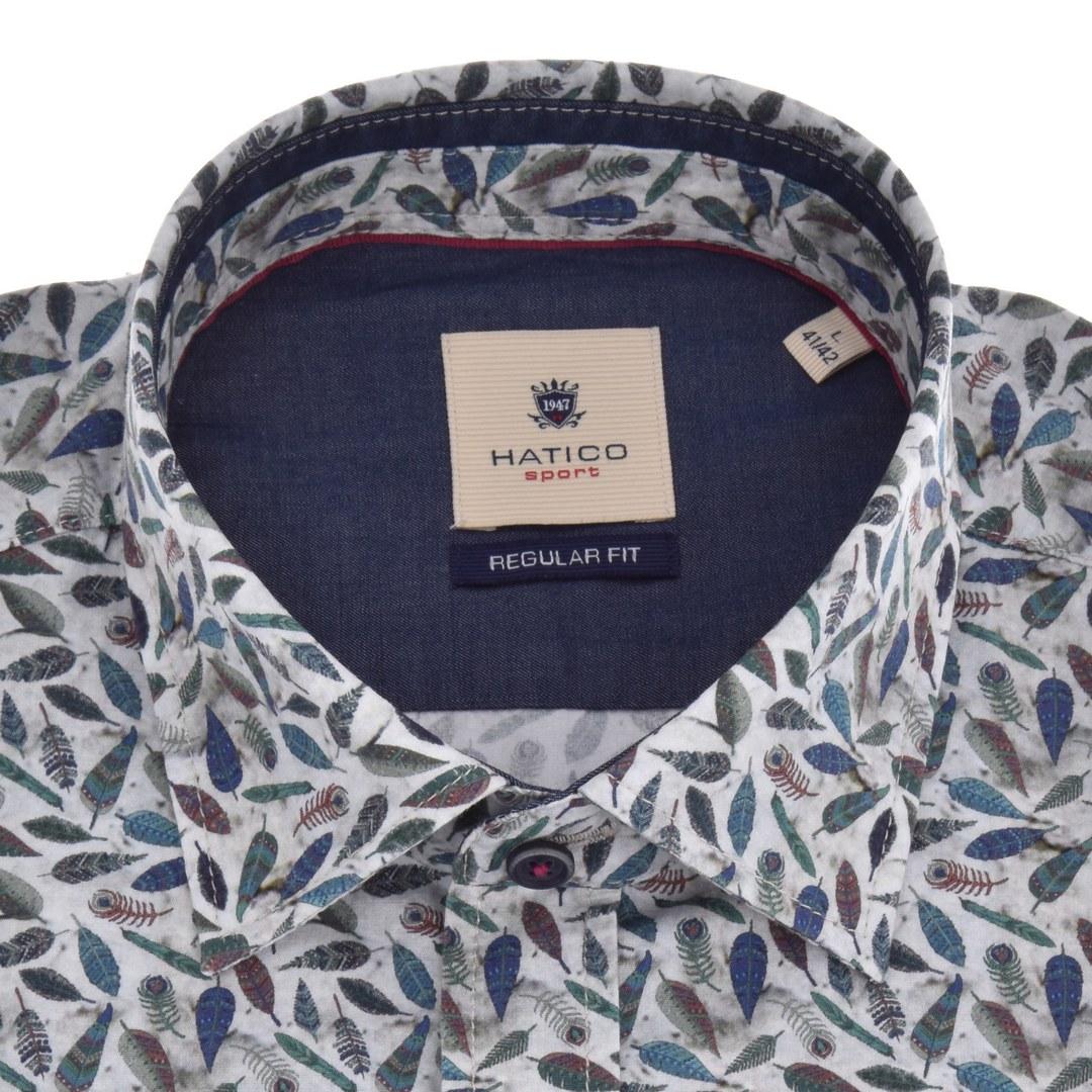 Hatico Herren Freizeithemd Langarm florales Muster D30042 31108 437 druck grün