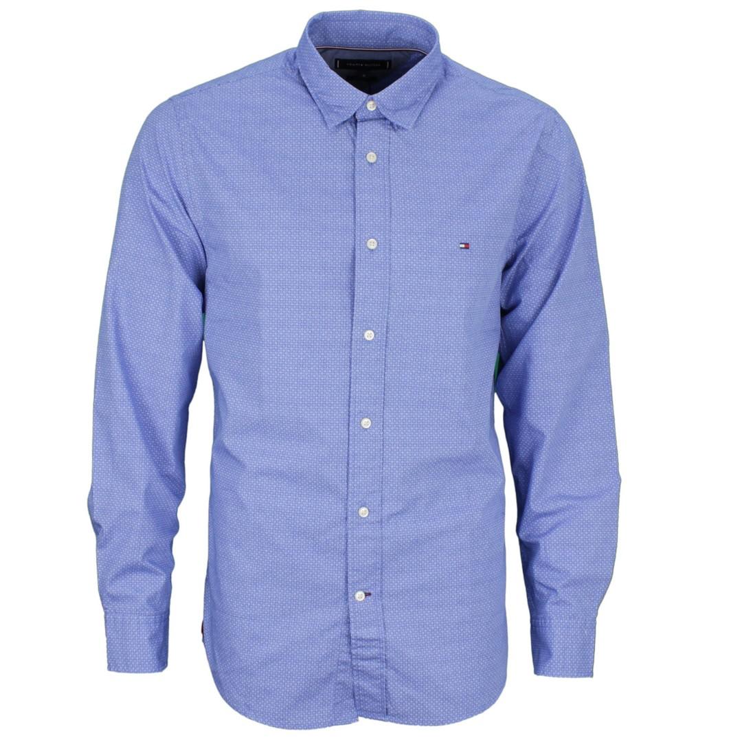 Tommy Hilfiger Herren Hemd blau weiß Minimal Muster MW0MW11526 OG4