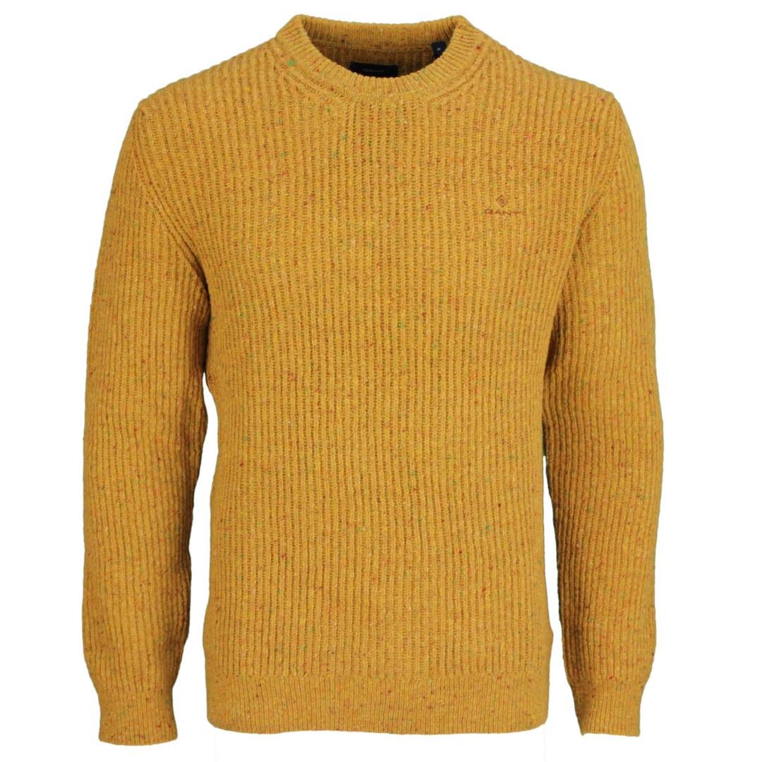 Gant Herren Strick Pullover Neps Rib C Neck  8040095 95 mustard orange