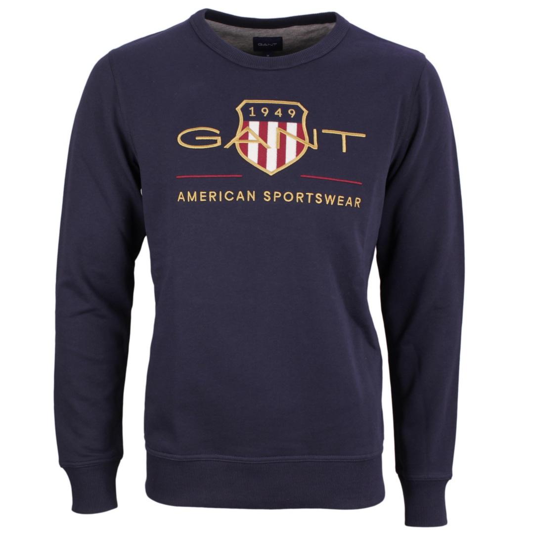 Gant Herren Archive Shield Rundhals Sweatshirt blau 2046071 433 C Neck evening blue