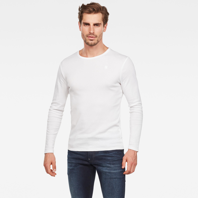 G-star Raw Round Neck base crew langarm shirt weiß D07204 124 110