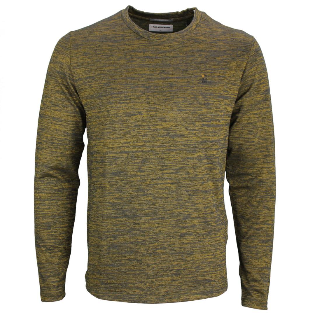 No Excess Herren langarm Strick Shirt gelb grau meliert 97120701 073 gold