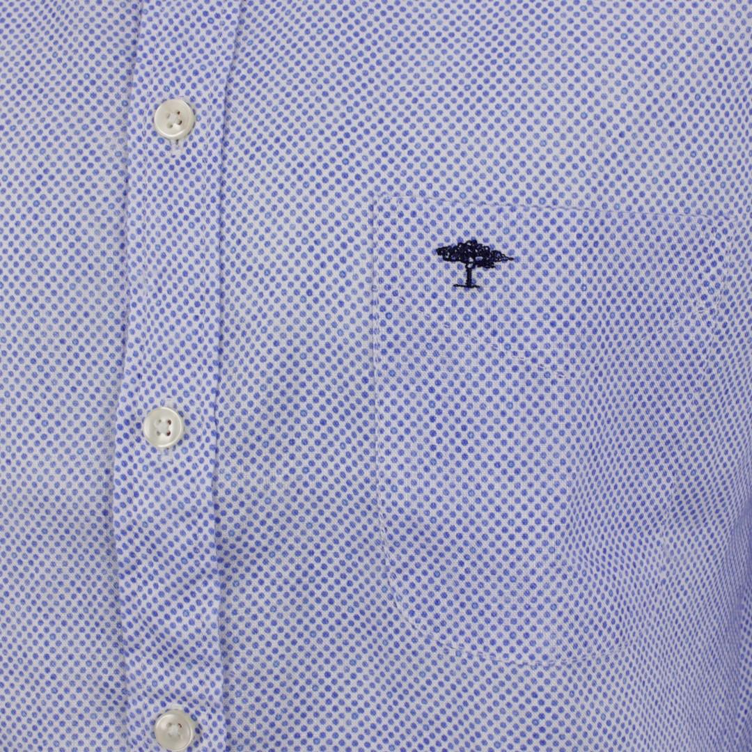 Fynch Hatton Herren Freizeit Leinen Hemd blau Punkte 11216048 6043 dots