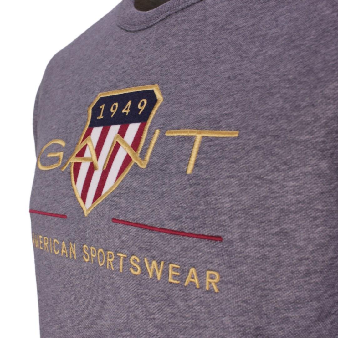 Gant Herren Archive Shield Rundhals Sweatshirt 2046071 95 Antracite Melange D2 Archieve Shield C Nec