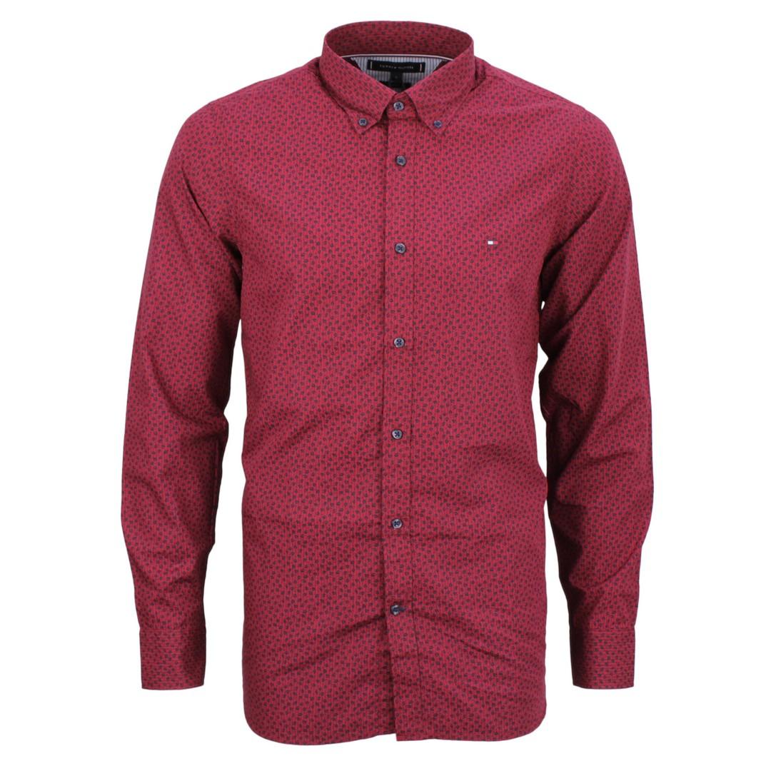 Tommy Hilfiger Herren Hemd rot blau Minimal Muster MW0MW11527 0KR