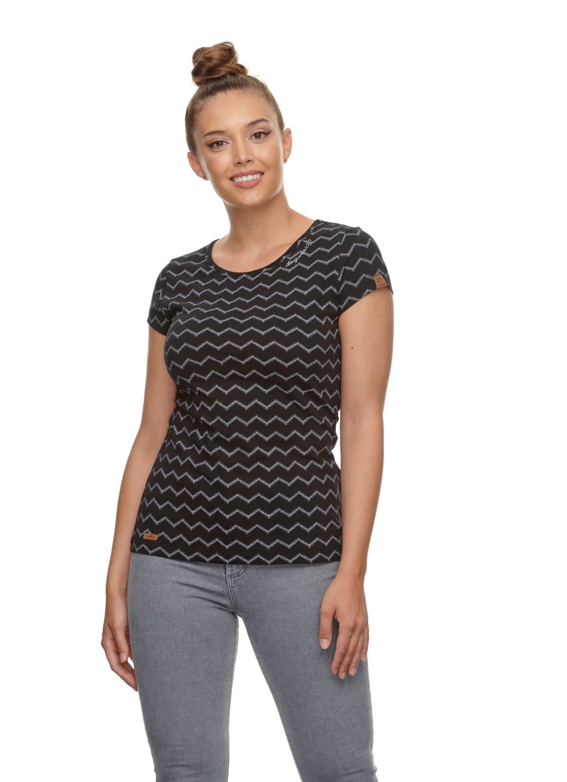 Ragwear Damen T-Shirt Mint Chevron schwarz weiß gemustert 2111 10014 1010 black