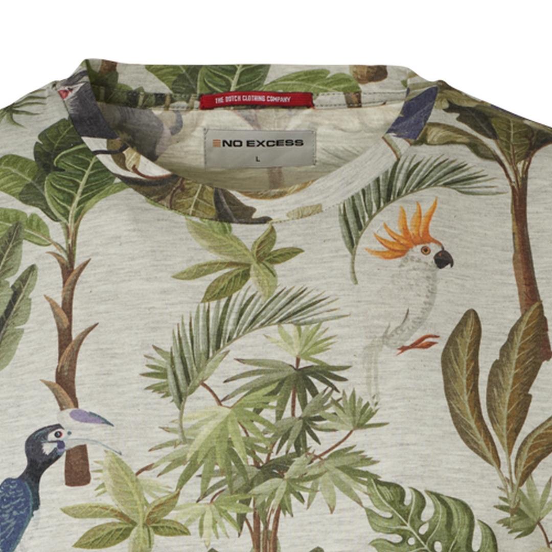 No Excess Herren T-Shirt Shirt kurzarm Palmen All Over Print 96360403 011