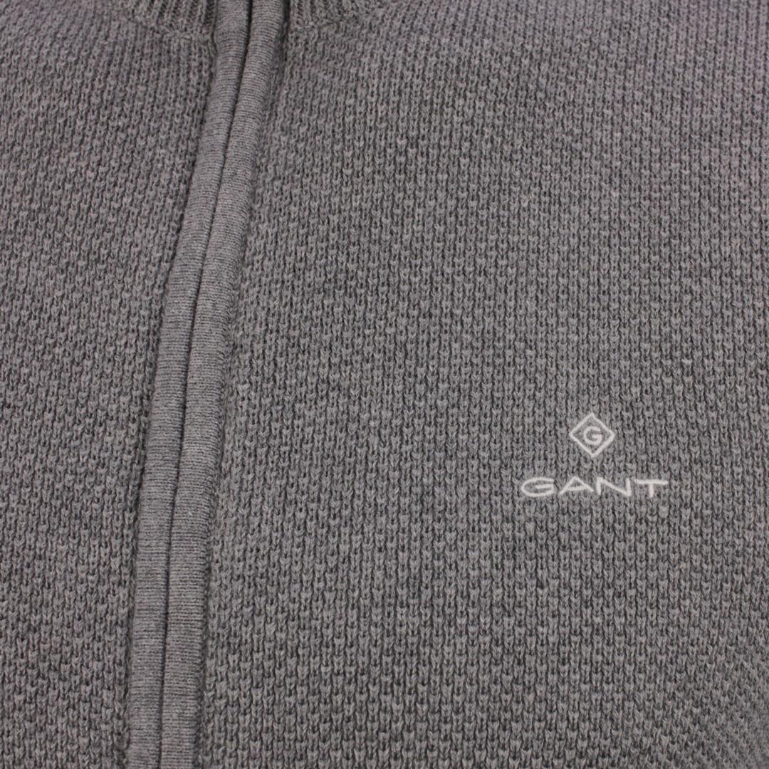 Gant Strick Jacke Cotton Pique Zip Cardigan grau 8030524 92 dark Grey Melange
