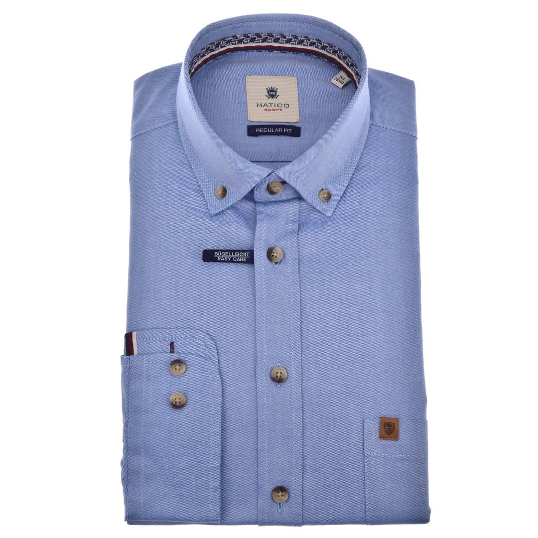 Hatico Freizeithemd Langarm blau unifarben D30007 31204 110 mittelblau