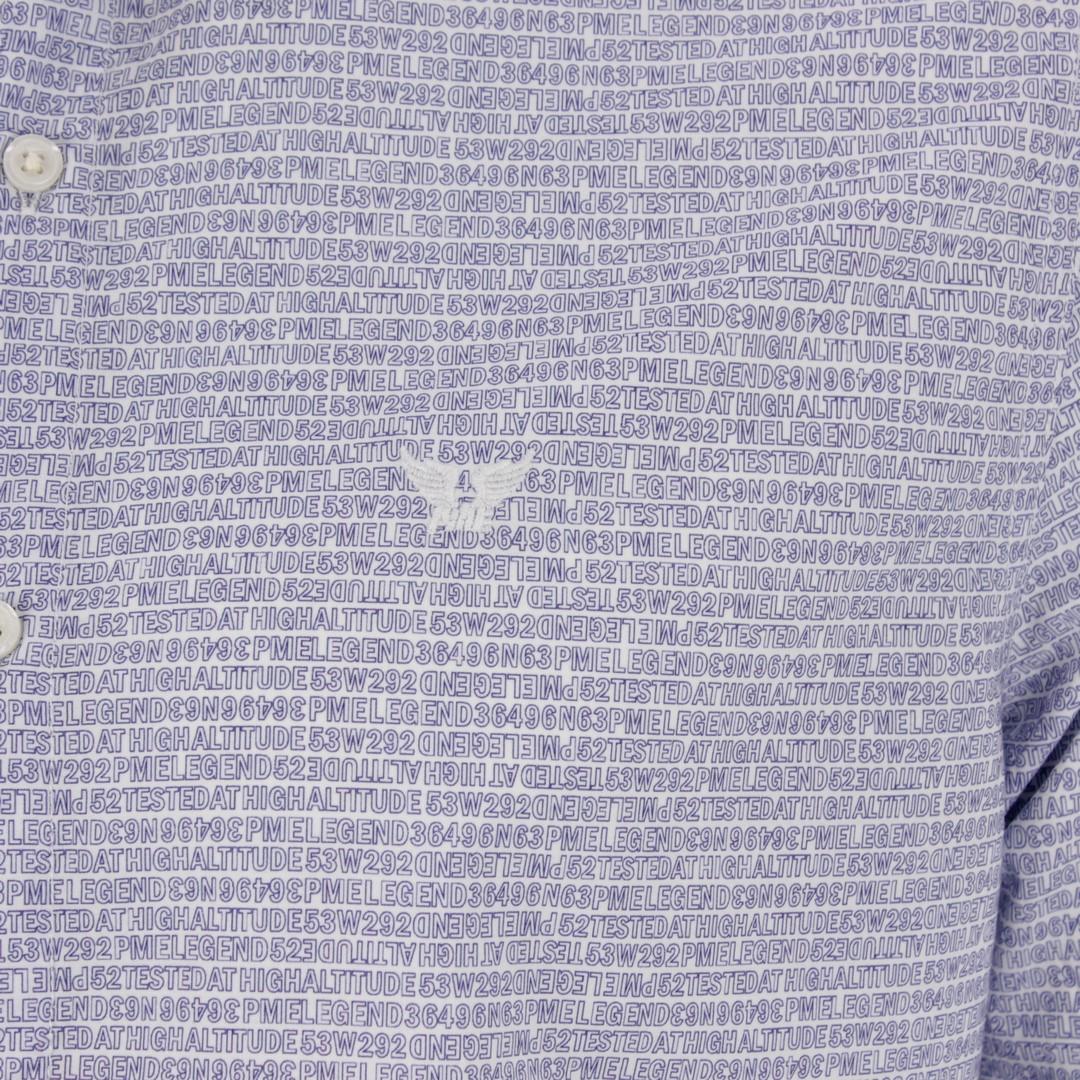 PME Legend Freizeit Hemd blau weiß All Over Logo Print PSI206217 7003