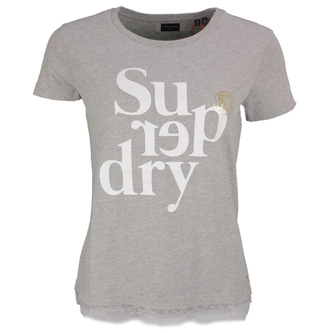 Superdry Damen T-Shirt Label Tilly Lace Graphic grau W6010094A 07q grey