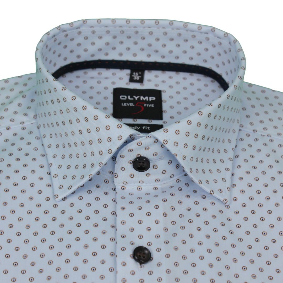 Olymp Herren Body Fit Hemd Level 5 blau Minimal Muster 2038 64 27