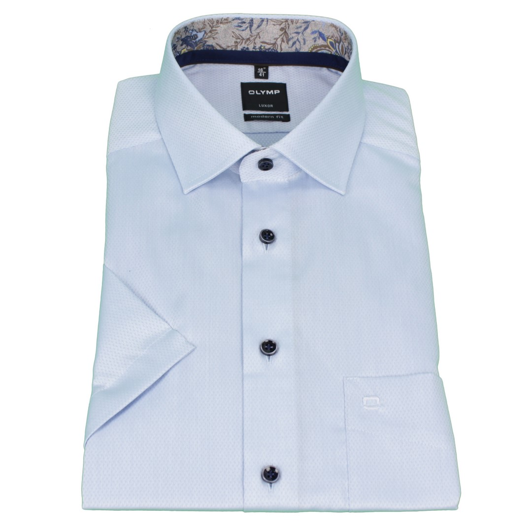 Olymp Modern Fit Halb Arm Hemd blau unifarben strukturiert 1200 32 11