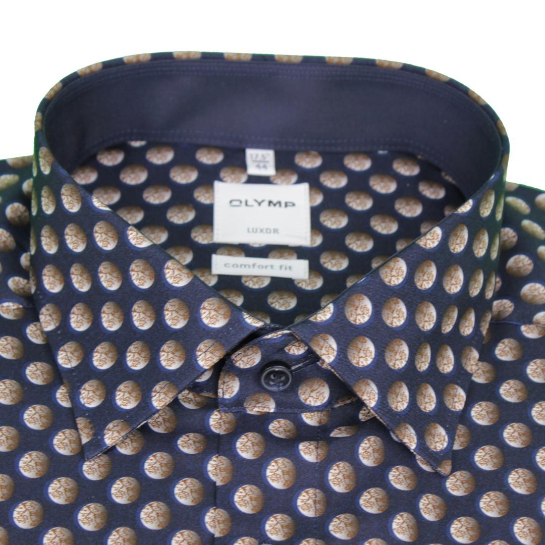 Olymp Luxor Comfort Fit Hemd blau Kreise 1013 44 28
