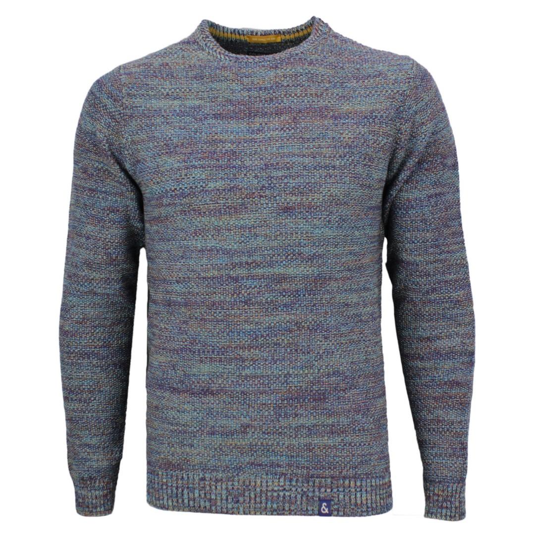 Colours & Sons Herren Strick Pullover blau mehrfarbig meliert 9220 131 901