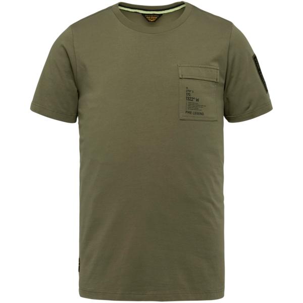 PME Legend T- Shirt Cotton Elastan Jersey grün PTSS214554 6149